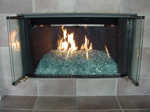 Fireplaces With Glass Rocks Fireplace Glass Installation